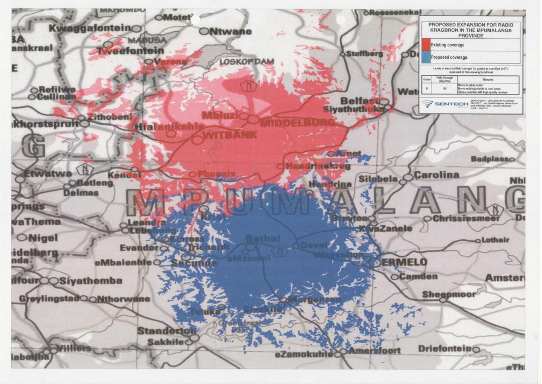 Radio Kragbron geografiese uitsaaigebied